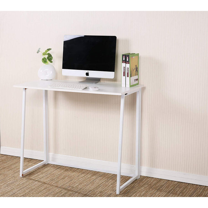 Compact Flip-Flop Folding Computer Desk Home Office Laptop Desktop Table, White