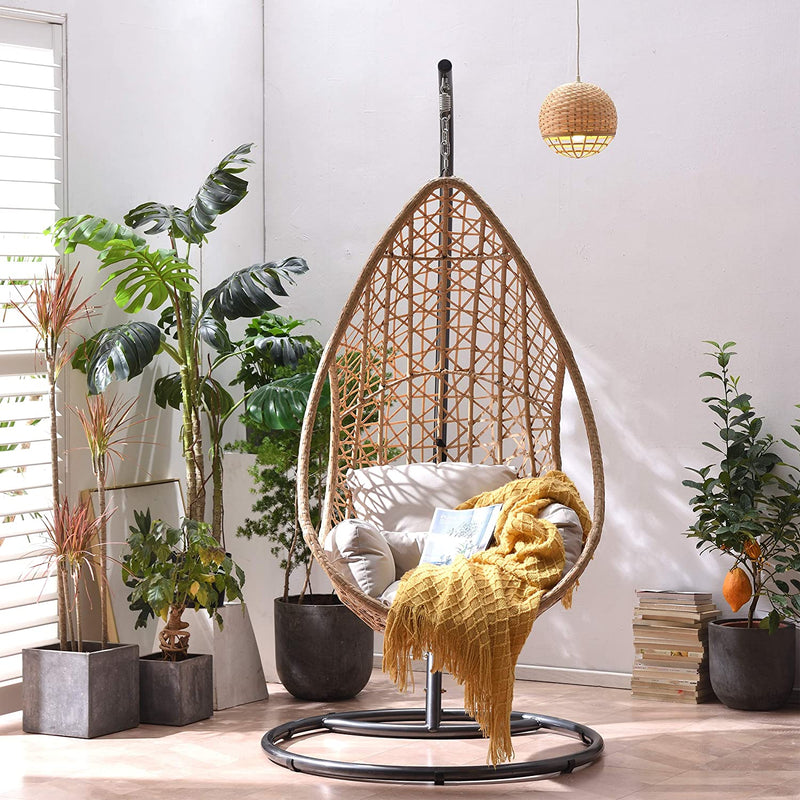 Indra Rattan Effect Patio Hanging Egg Chair 3