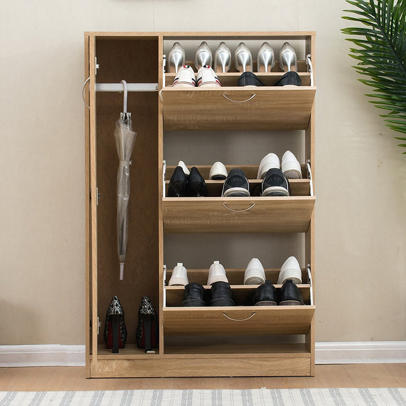 3 drawer wooden shoe cabinet shoe storage unit with umbrella compartment