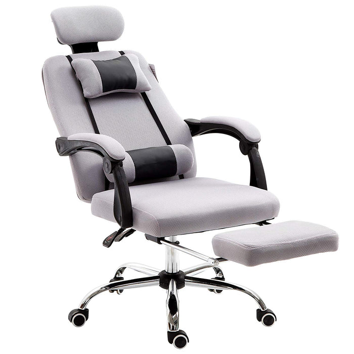 fabric recline office chair with footrest and neck lumbar cushion grey
