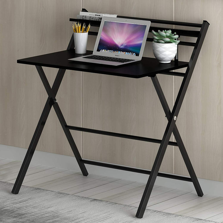 New Design Folding Desk with Steel Frame, Black
