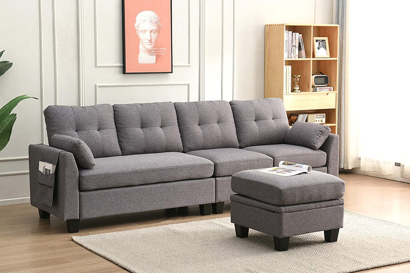 Brunswick 4 Seater Storage Chaise Sofa in Grey 4