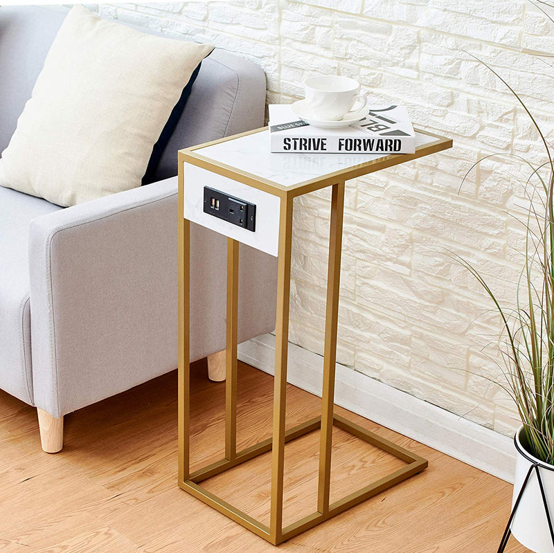 Cherry Tree Furniture ANTON Living Room Side Table, Sofa Table, End Table/w USB Ports & Power Outlet White Marble Effect & Golden Frame