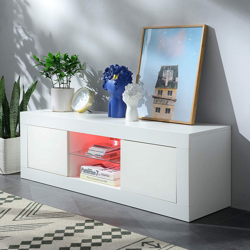 "Cherry Tree Furniture MELDAL LED High Gloss TV Stand, TV Unit Cabinet for TV Size up to 50"" White, 125 cm"
