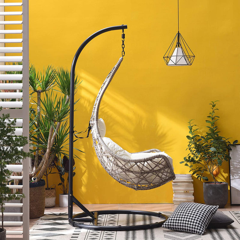 Maple Rattan Effect Hanging Patio Moon Chair Cocoon 4