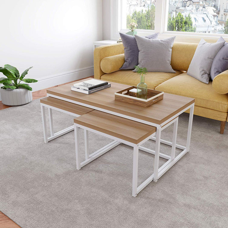 Cherry Tree Furniture CLIVE Coffee Table with Nest of 2 Tables, 1+2 Coffee Table Nesting Tables White Oak Colour