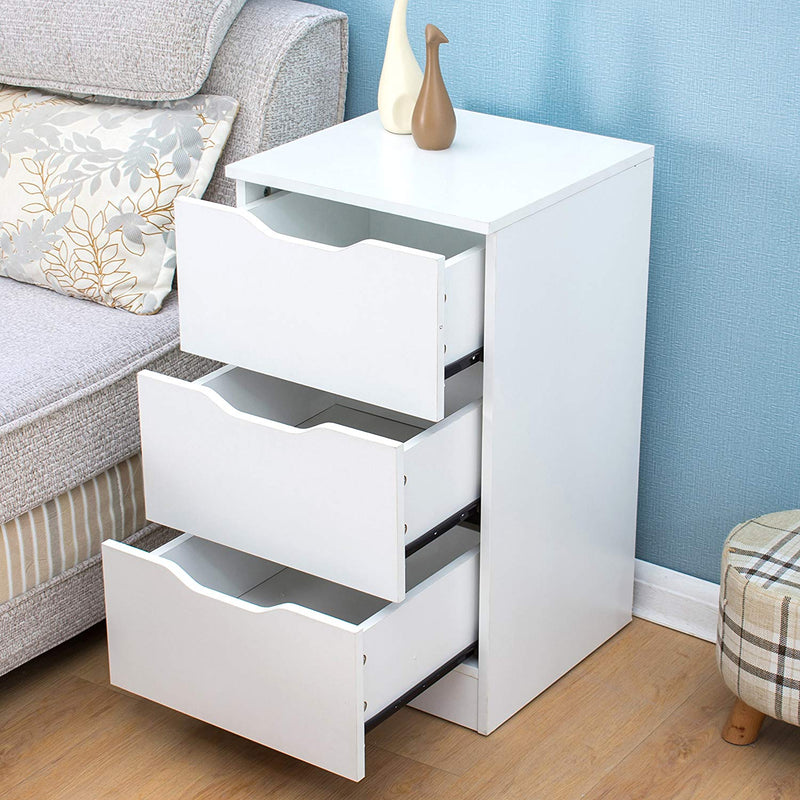 3-Drawer White Wood Bedside Table Cabinet, Chest of 3 Drawers