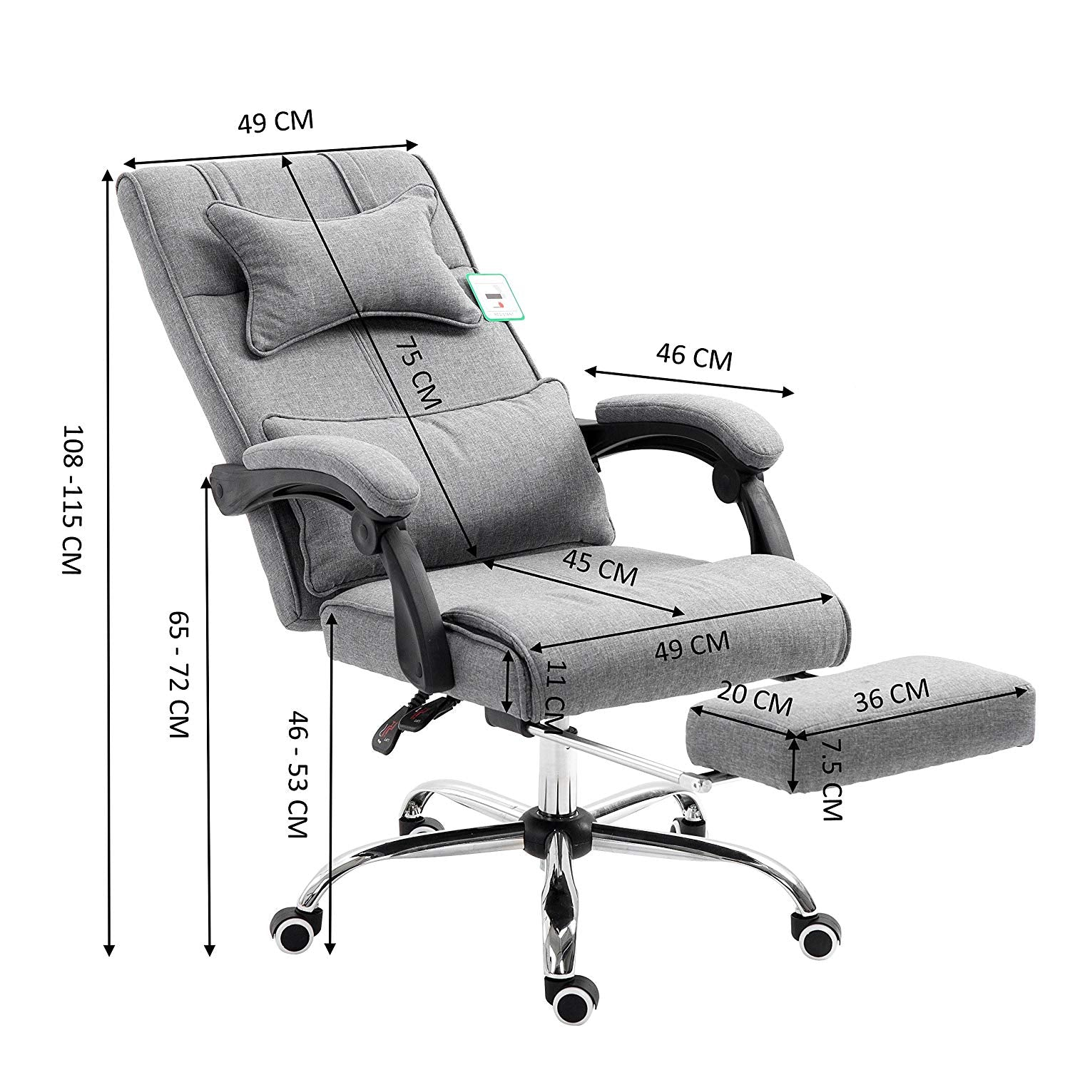 Premium-executive-reclining-computer-desk-chair-with
