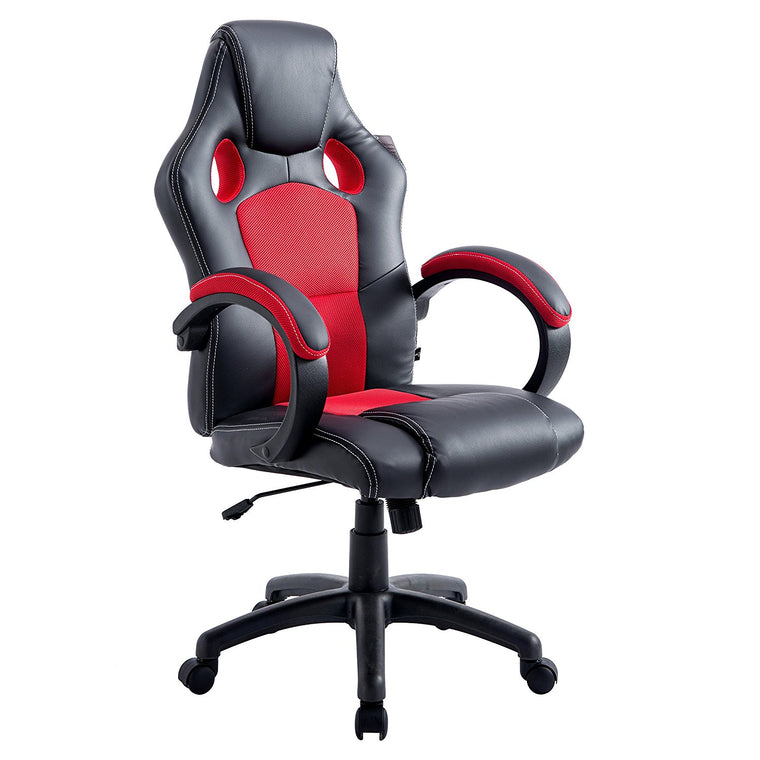 CTF Sport Racing Gaming PU Leather & Fabric Swivel Office Chair, Red