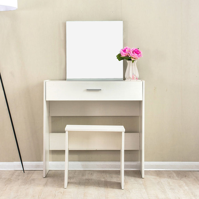 modern design large mirror vanity dressing table with stool beige