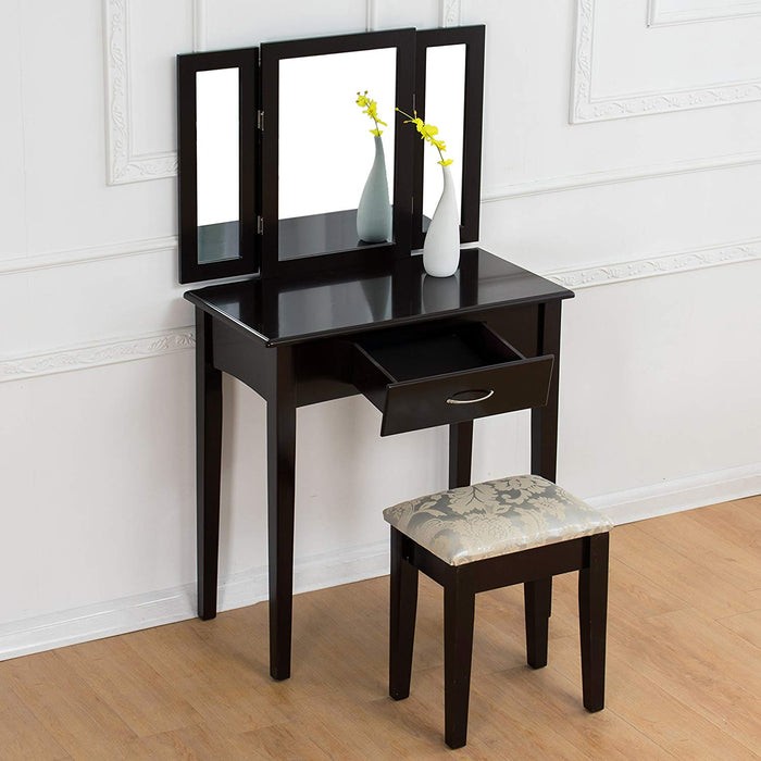 triple mirrors dressing table set with stool black