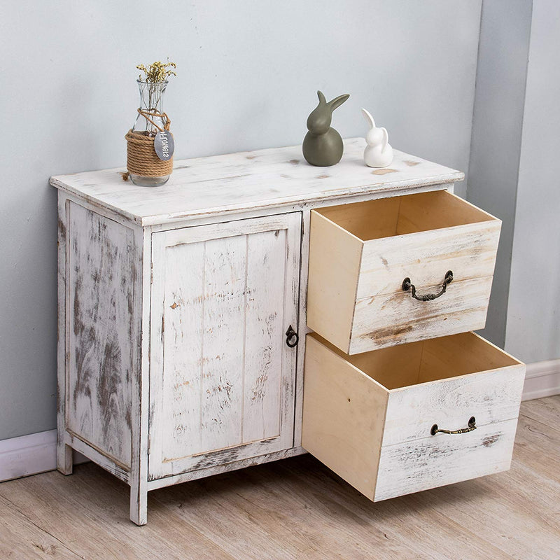 distressed white paulownia wood shabby chic sideboard storage cabinet