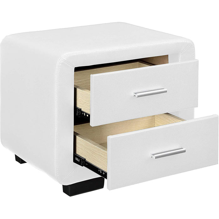 Cherry Tree Furniture RANA Luxury Upholstered 2- Drawer Bedside Table Cabinet Nightstand White PU