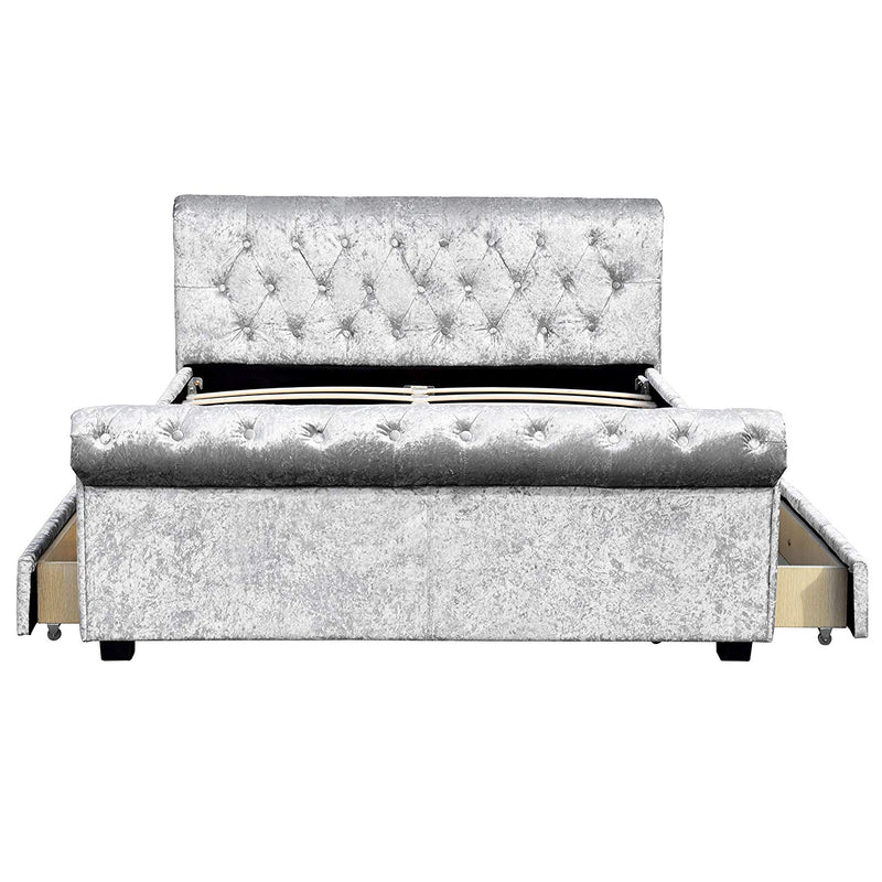MAIA Luxurious Crushed Velvet Sleigh Bed with 4-Drawer Storage, Silver