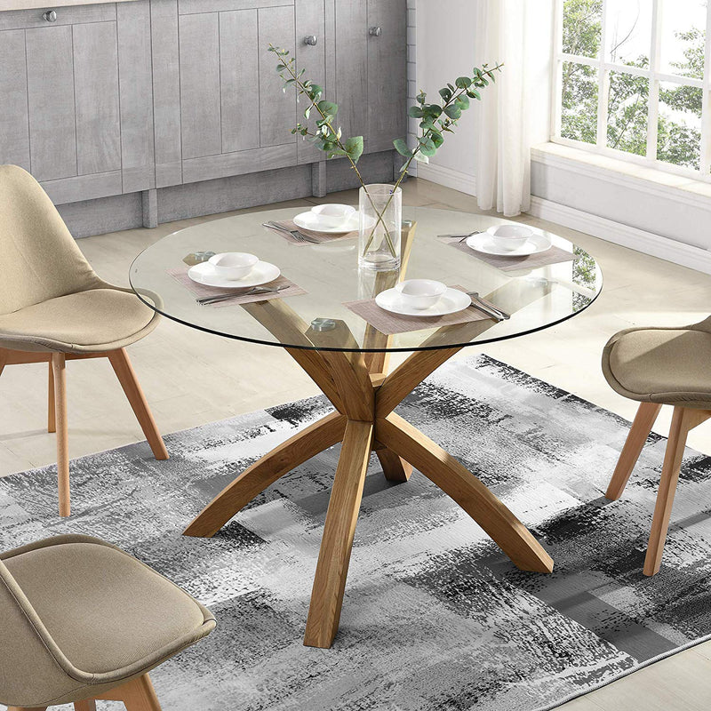 LUGANO Round Glass Top Solid Oak Legs Dining Table 2