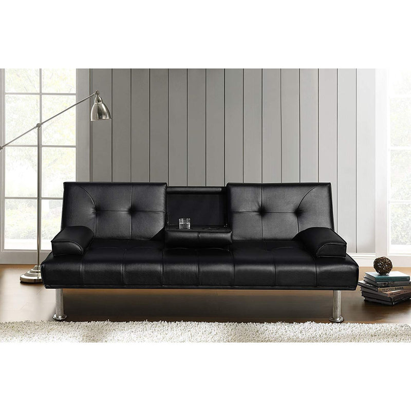 acrux 3 seater sofa bed with cup holders cushions black pu