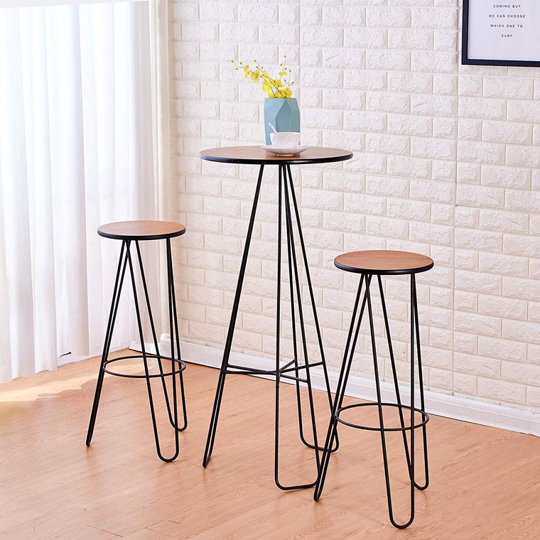 Cherry Tree Furniture Korla 2 x Bar Stool, Kitchen Breakfast Bar Set, Solid Wood Veneer & Hairpin Legs