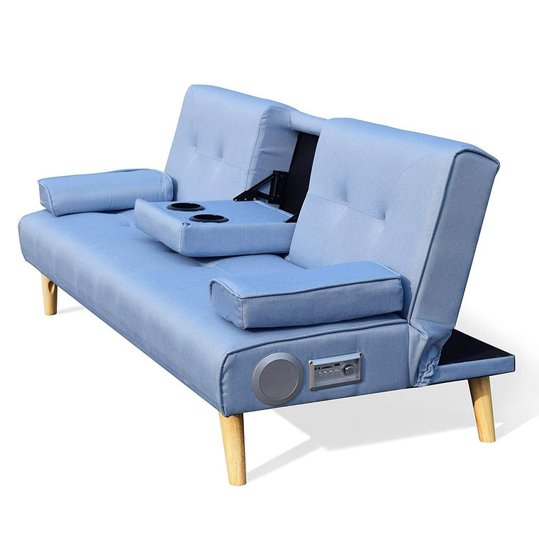 ACRUX 3-Seater Sofa Bed with Built-in Bluetooth Speaker, Cup Holders & Cushions, Light Blue Fabric