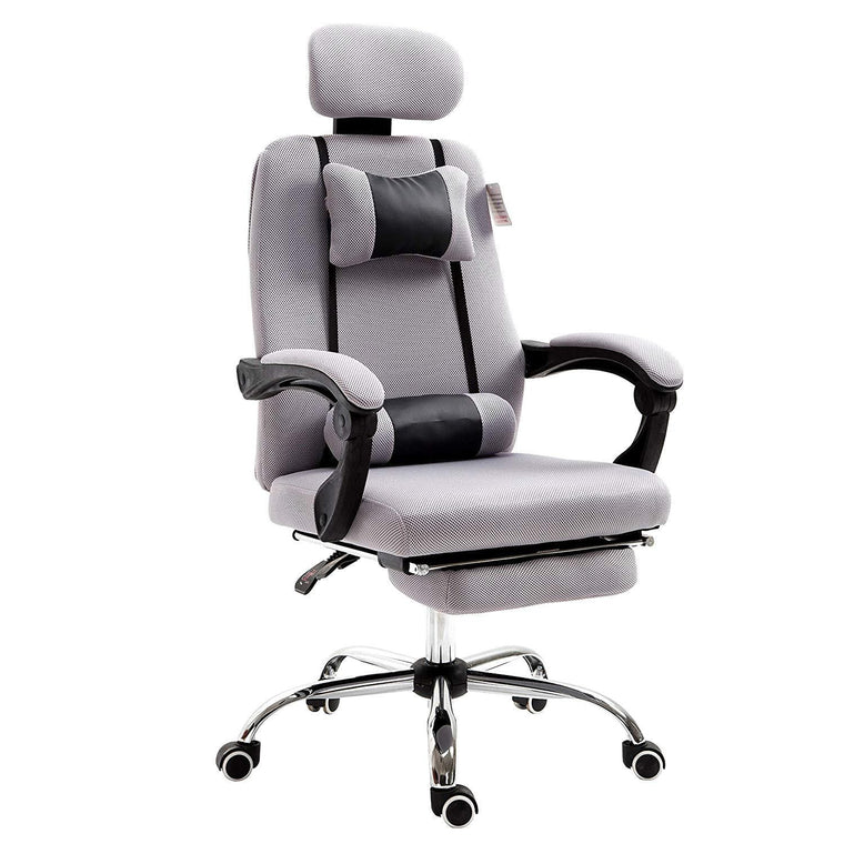 Fabric Recline Office Chair with Footrest and Neck & Lumbar Cushion, Grey