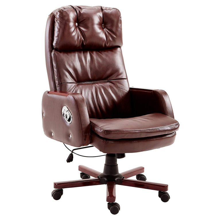Luxury PU Leather Executive Swivel Computer Chair Office Desk Chair with Latch Recline Mechanism, Brown