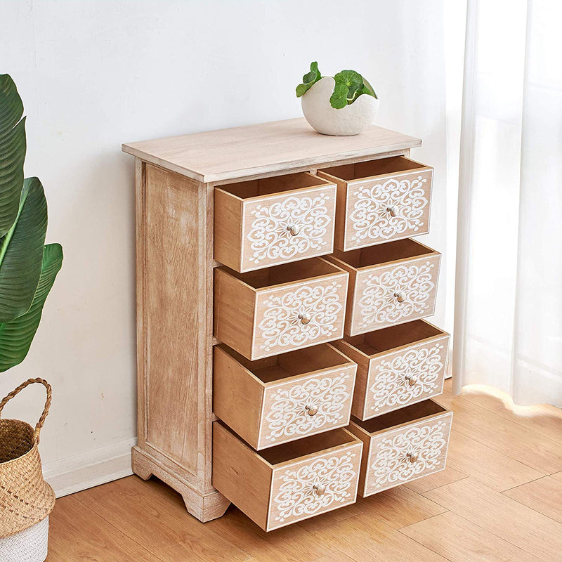 Cherry Tree Furniture 8-Drawer Natural Wood Cabinet Storage Unit Chest of Drawers with Floral Motifs on Door