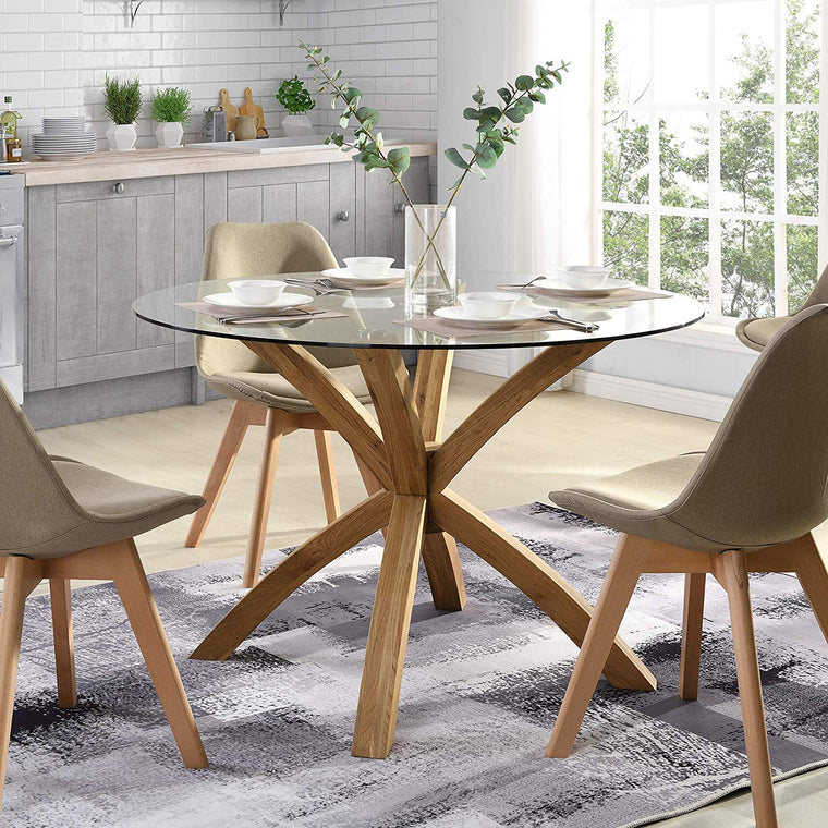LUGANO Round Glass Top Solid Oak Legs Dining Table