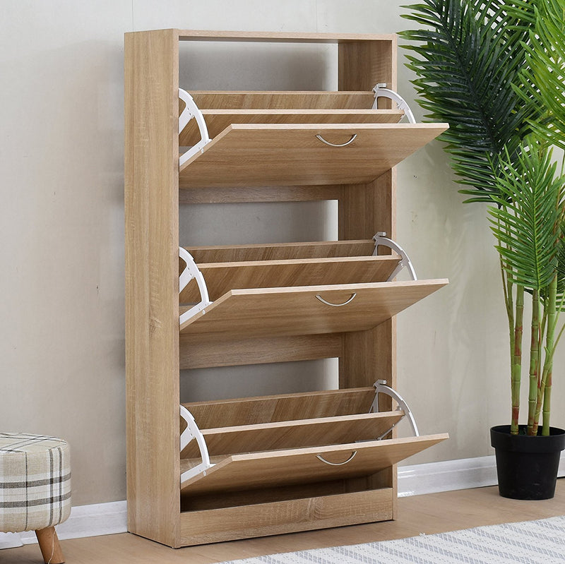 3 drawer wooden shoe cabinet shoe storage unit oak colour