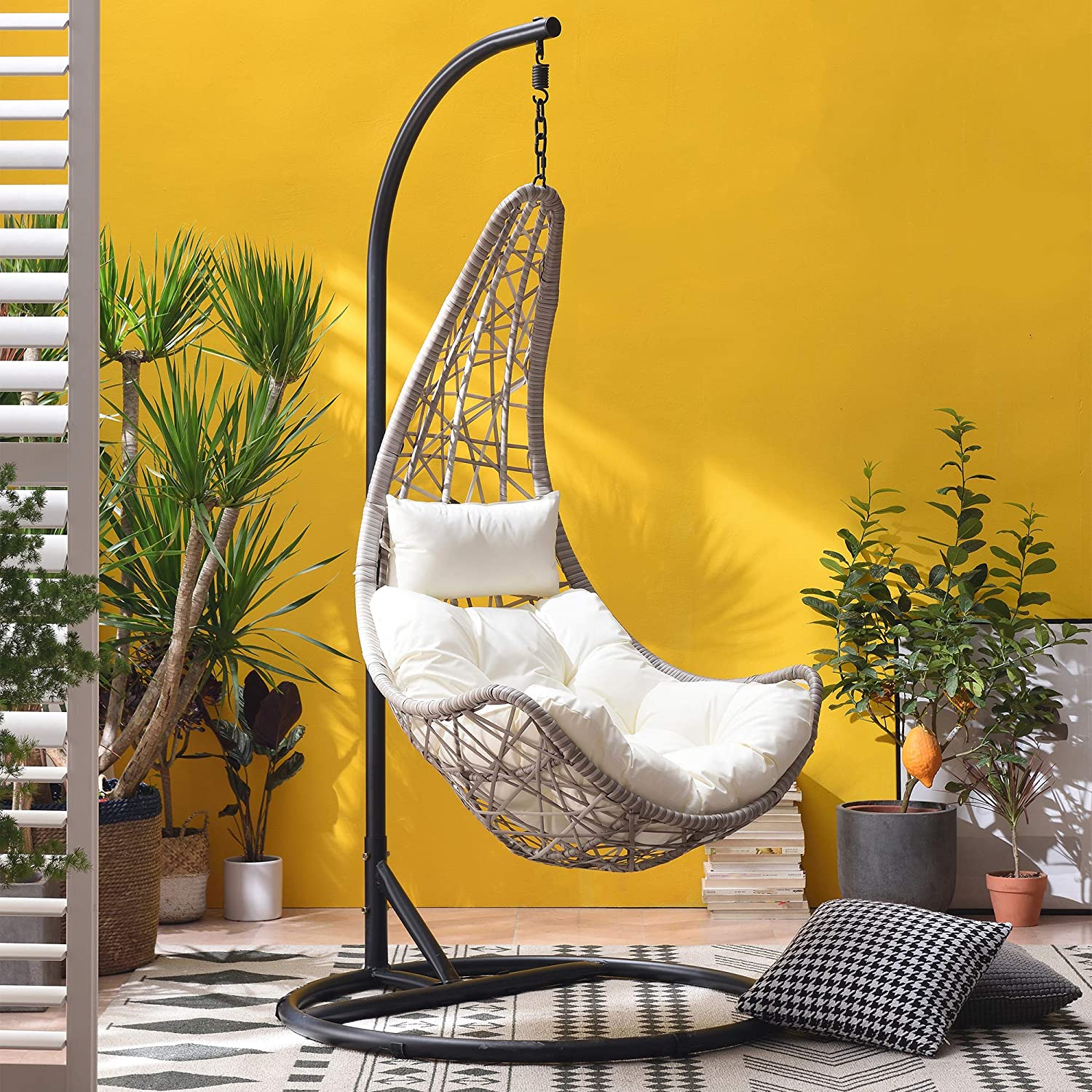 Maple Rattan Effect Hanging Patio Moon Chair Cocoon 1