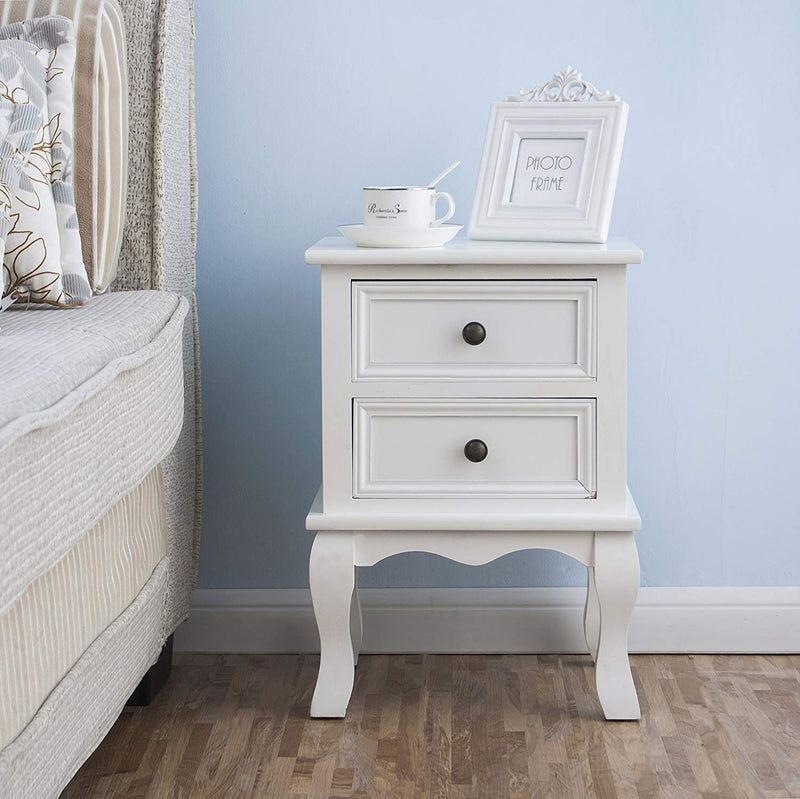 wood bedside table 2 drawer cabinet white