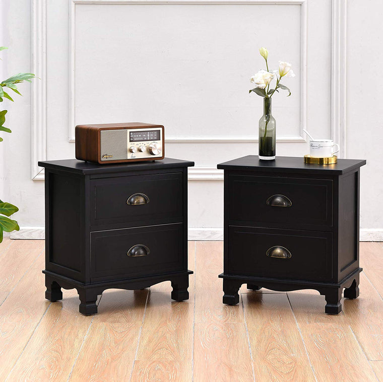 CAMROSE 2X Wooden Bedside Cabinet with Metal Cup Pull Handles Black 2 Drawer Pair