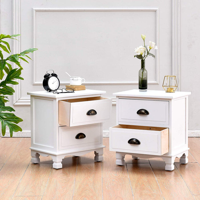 CAMROSE 2X Wooden Bedside Cabinet with Metal Cup Pull Handles White 2 Drawer Pair 2