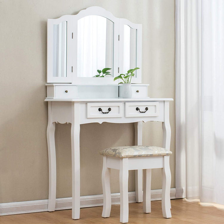White 3-Way Tri-fold Mirrors 4-Drawer Vanity Dressing Table Set