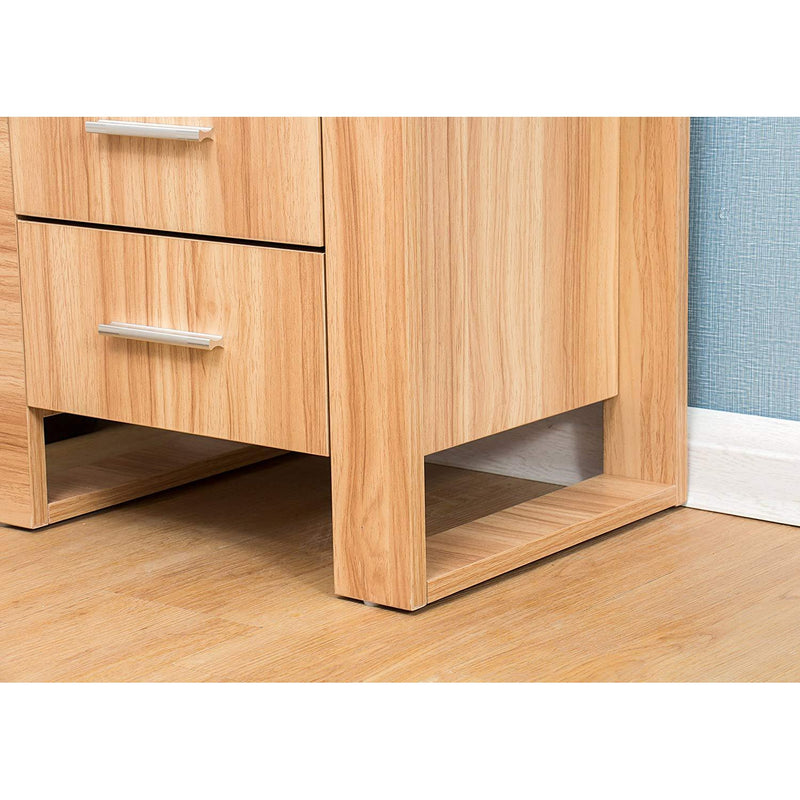 Oak-Effect Wood 2-Drawer Bedside Table Cabinet Nightstand