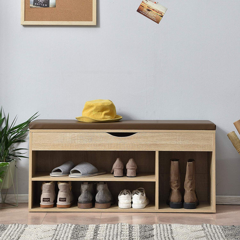 Hallway Shoe Rack Padded Bench Storage 103.5 x 29.5 x 48 cm Oak 1