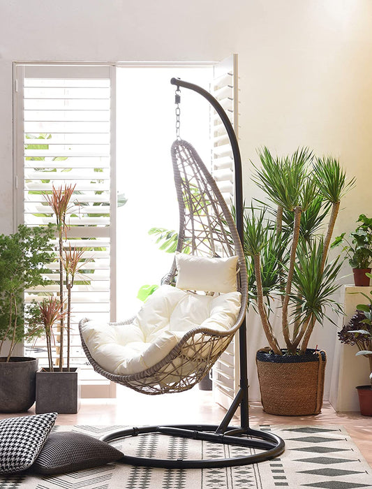Maple Rattan Effect Hanging Patio Moon Chair Cocoon 2