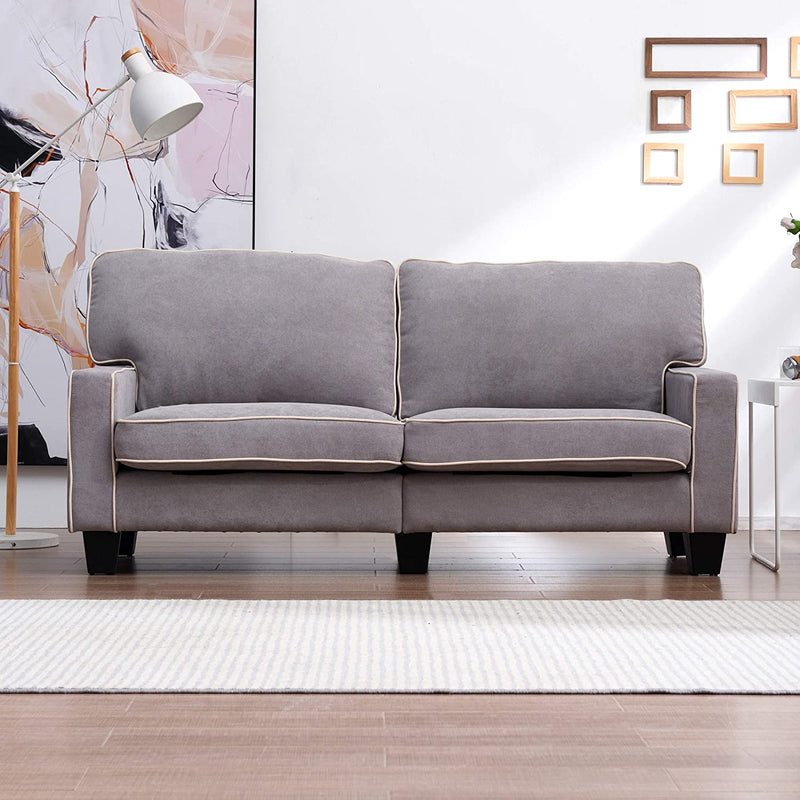 Sherbrook Large 2 Seater Fabric Sofa with Contrasting Trim in Light Grey Fabric 2
