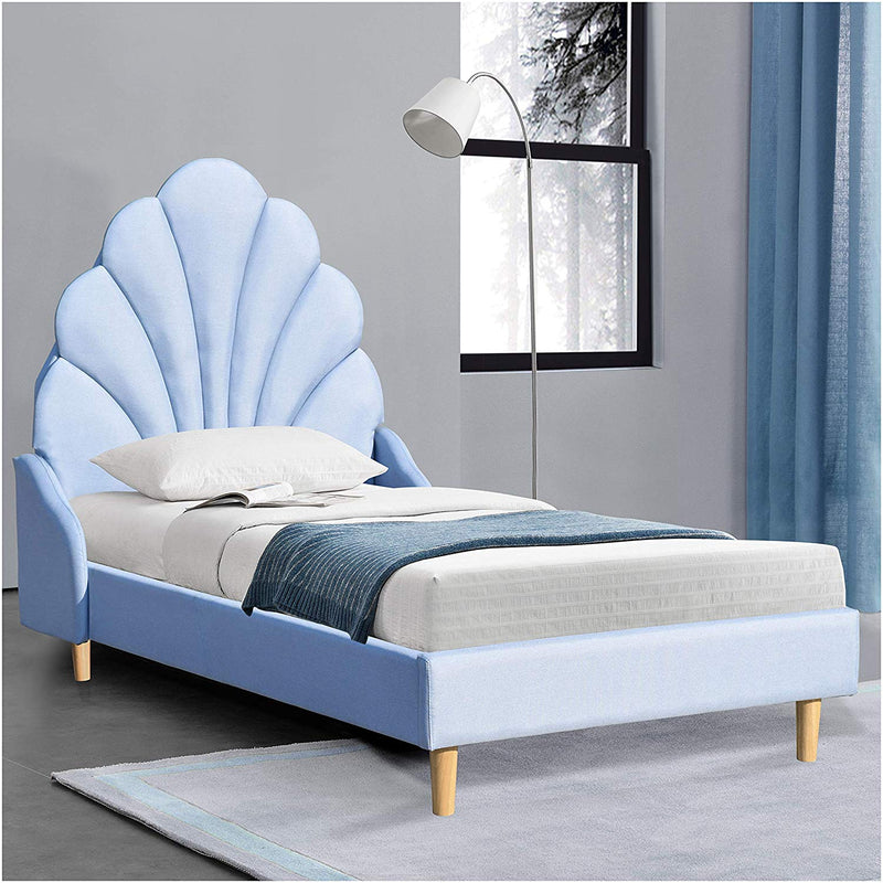 Cherry Tree Furniture ARIEL Blue Linen Fabric Upholstered Bed with Scalloped Headboard