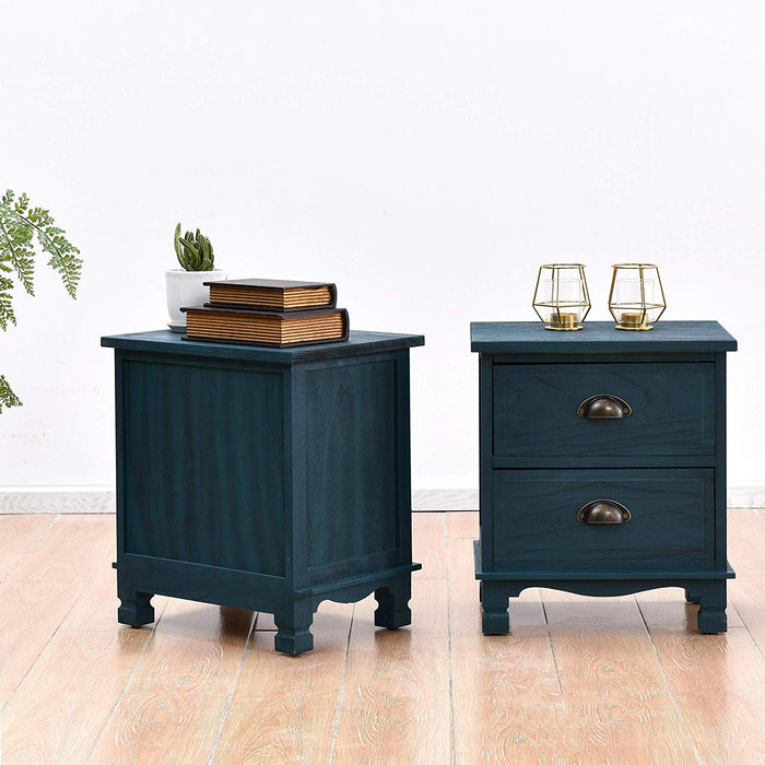 CAMROSE 2X Wooden Bedside Cabinet with Metal Cup Pull Handles Blue 2 Drawer Pair 3