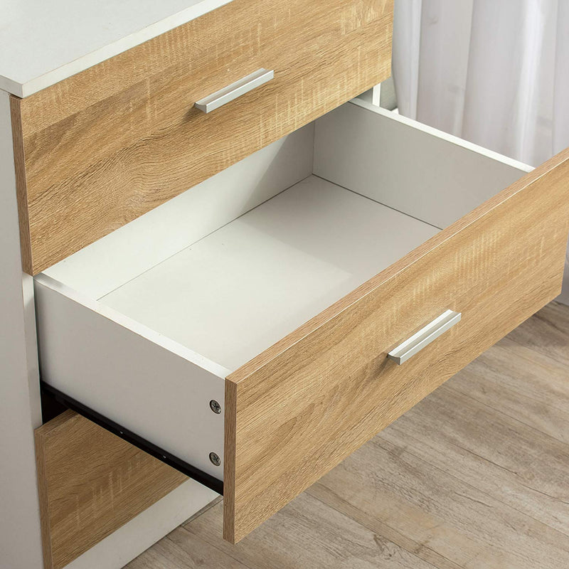 3-Drawer Cabinet Chest of Drawers in Oak & White Colour
