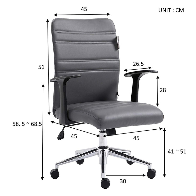 PU Leather Padded Medium Back Swivel Office Chair with Chrome Base, Grey