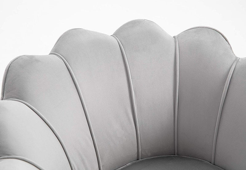 HEPBURN Scalloped Velvet Armchair Tub Chair Grey 6