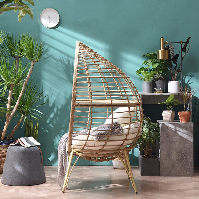 Caspian Natural Rattan Effect Cocoon Patio Egg Chair 5