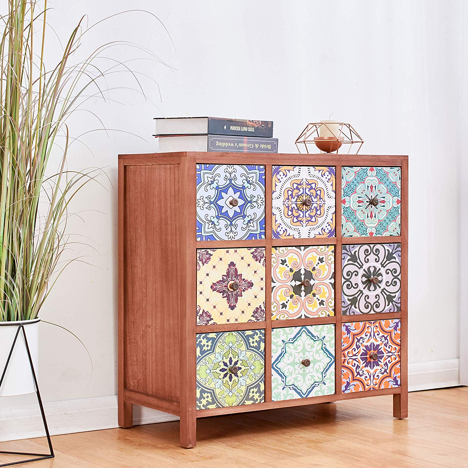 Cherry Tree Furniture Ostia 9-Drawer Multi-Coloured Wooden Cabinet Chest of Drawers