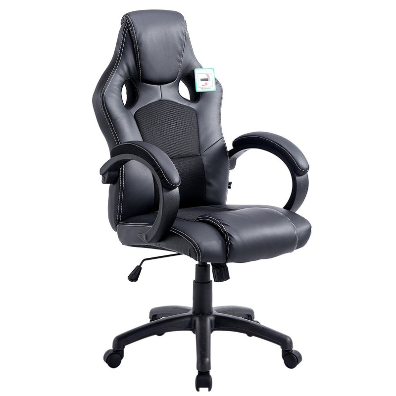 ctf sport racing gaming pu leather fabric swivel office chair black