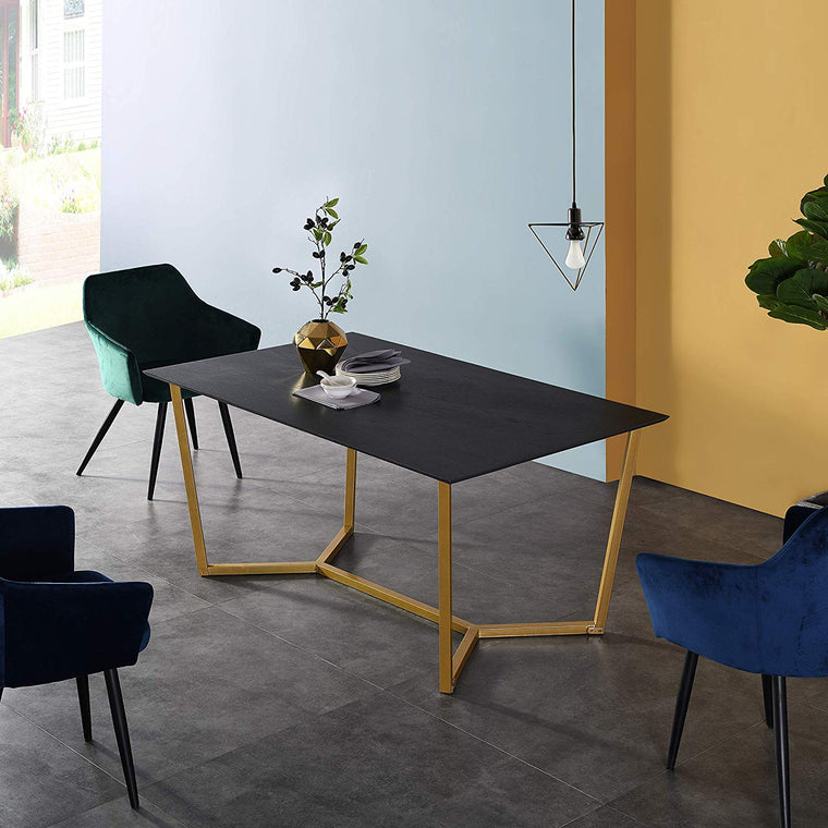 SIERRE 6 Seater Dark Oak Dining Table with Geometric Metal Legs