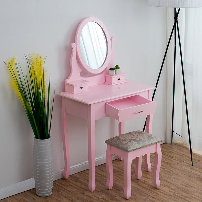 3 drawer makeup dressing table set with stool oval mirror stool pink