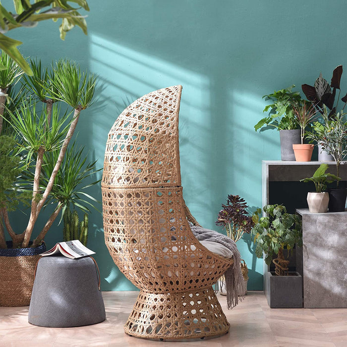 Nerida Natural Rattan Effect Cocoon Swivel Garden Egg Chair 4
