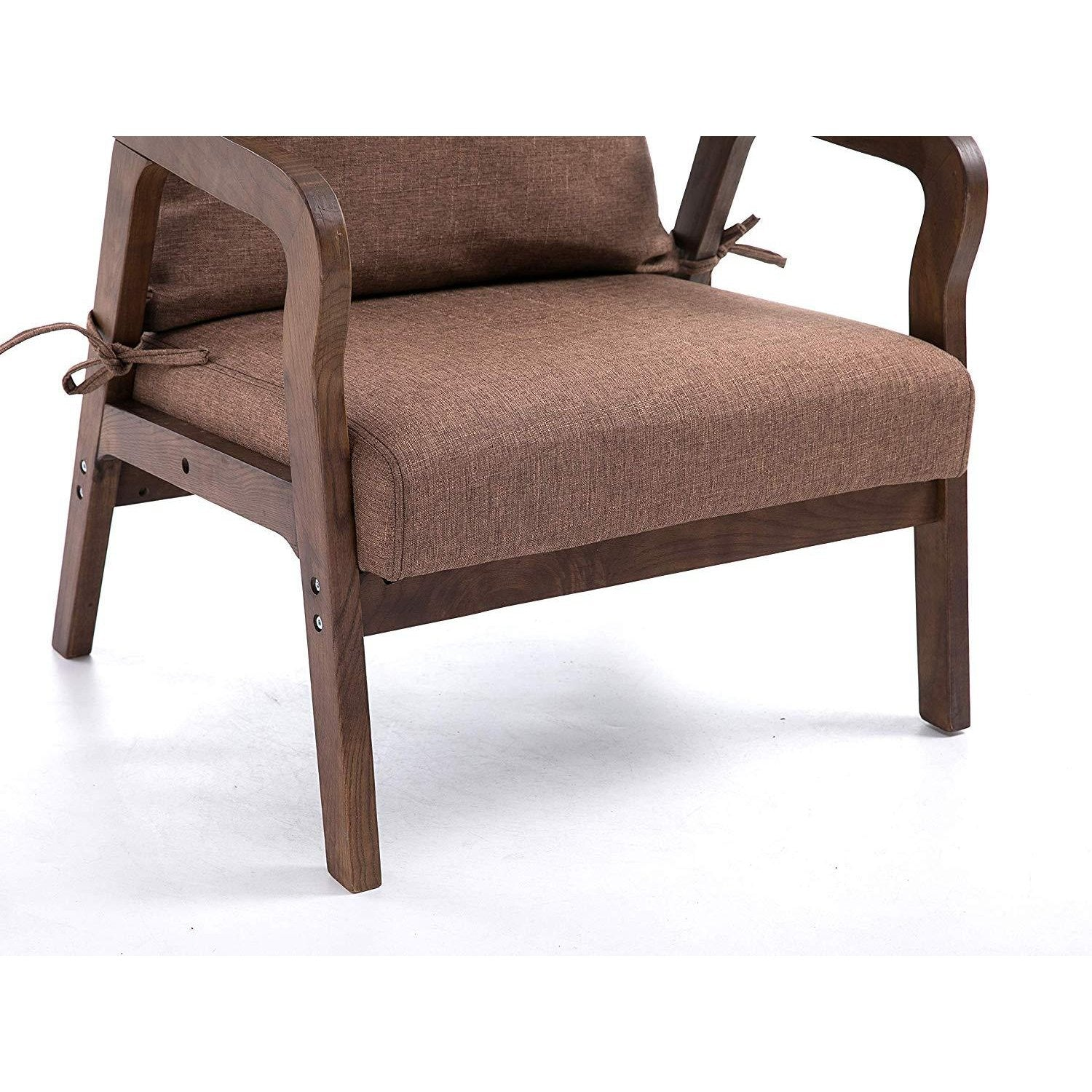 Bentwood Brown Fabric Armchair Accent Chair With Solid