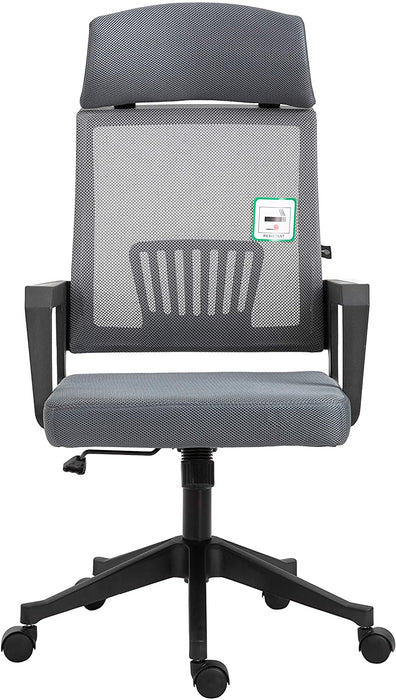 Beni Mesh Fabric Swivel Office Chair with Headrest Grey 2