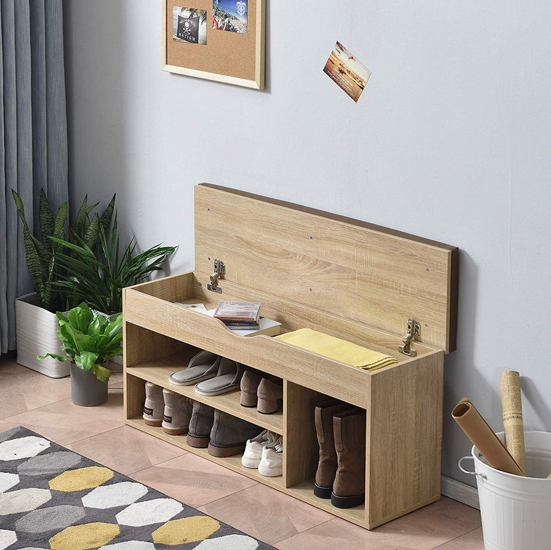 Hallway Shoe Rack Padded Bench Storage 103.5 x 29.5 x 48 cm Oak 5